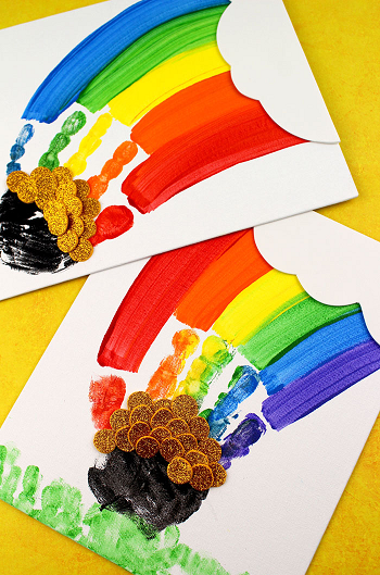 Handprint rainbow art DIY Exploring Funniest Ideas of Rainbow Craft For Your Kids