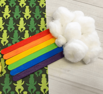 Lovely craft sticks and cotton balls rainbow DIY Exploring Funniest Ideas of Rainbow Craft For Your Kids