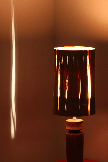 Pepper grinder lamp with salvaged wood veneer shade DIY Enchanting Ideas To Create More Light In Your Home