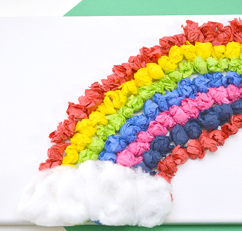 Rainbow tissue paper canvas art DIY Exploring Funniest Ideas of Rainbow Craft For Your Kids