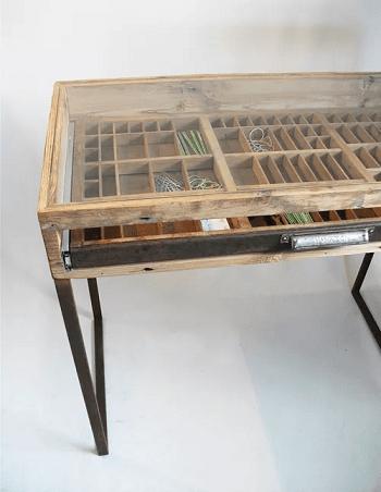Table DIY Functional Repurpose Ideas Of Letterpress Drawers