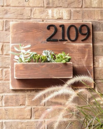 Wooden house number