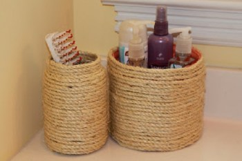Bathroom Storage From Coffee Cans