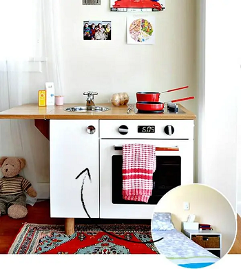 Bedside table play kitchen Selected-Unconventional DIY Play Kitchen Ideas To Keep Your Kids Busy