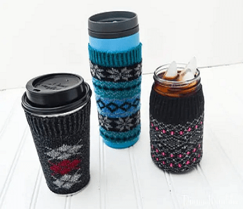 Coffee cup cozies DIY Dazzling Ways To Reuse Old Mismatched Socks