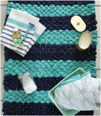 Diy chunky woven bath mat