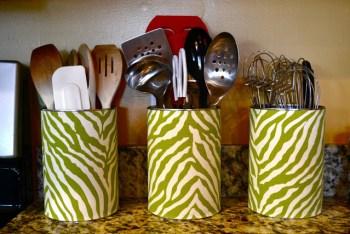 Diy coffee can utensil holders