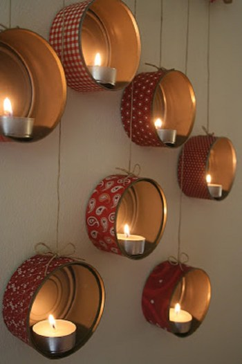 Diy tin can candle holders on the wall