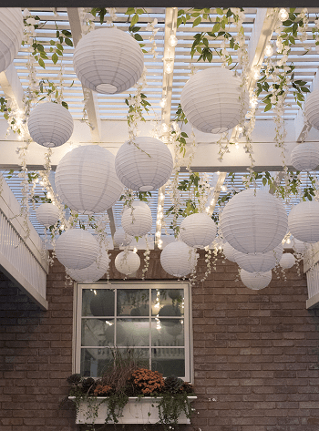 Paper lanterns and wisteria DIY Ideas To Decorate Your Pergola For Refreshing Look