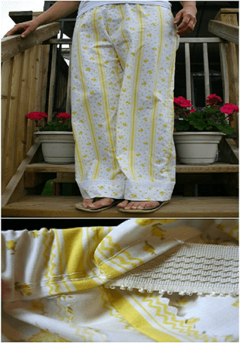 Repurpose old sheets into pajama pants Amazing Ways To Repurpose Your Old Bed Sheets