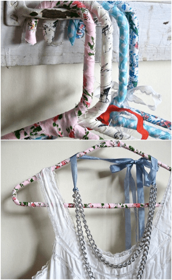 Repurposed sheet into fabric covered hangers Amazing Ways To Repurpose Your Old Bed Sheets