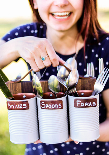 Buffet style with portable silverware caddies Turn Trash To Treasure Projects From Tin Can That Also Appealing