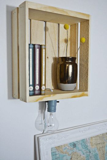 Creative storage and lighting elements One Day Repurposing Wood Crate Project With Function And Flare