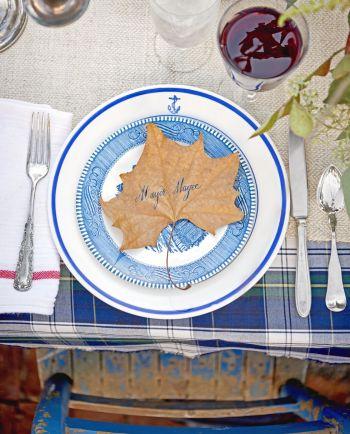 Diy dried leaf place card