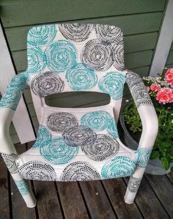 Decoupaged plastic garden chairs