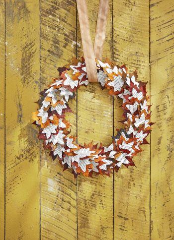 Leaf and book fall wreath