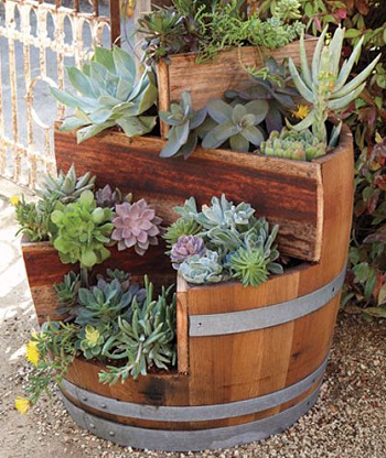 Mini garden DIY Compelling Ways To Use Wine Barrels For Decoration