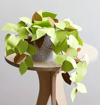 Paper heart leaf DIY Fake Plants That Easy To Follow For Home Decoration