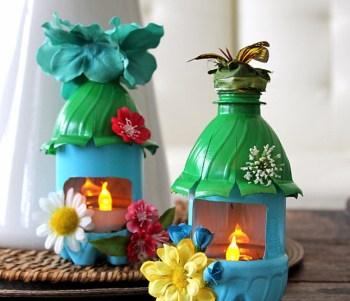 Plastic bottle fairy house