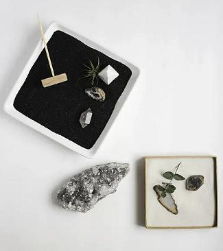Rectangle black white mini garden DIY Zen Garden In Mini Style To Create For Fresh Desk