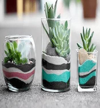 Vibrant succulent centerpiece DIY Tabletop Centerpiece Of Succulent In Wine Glasses