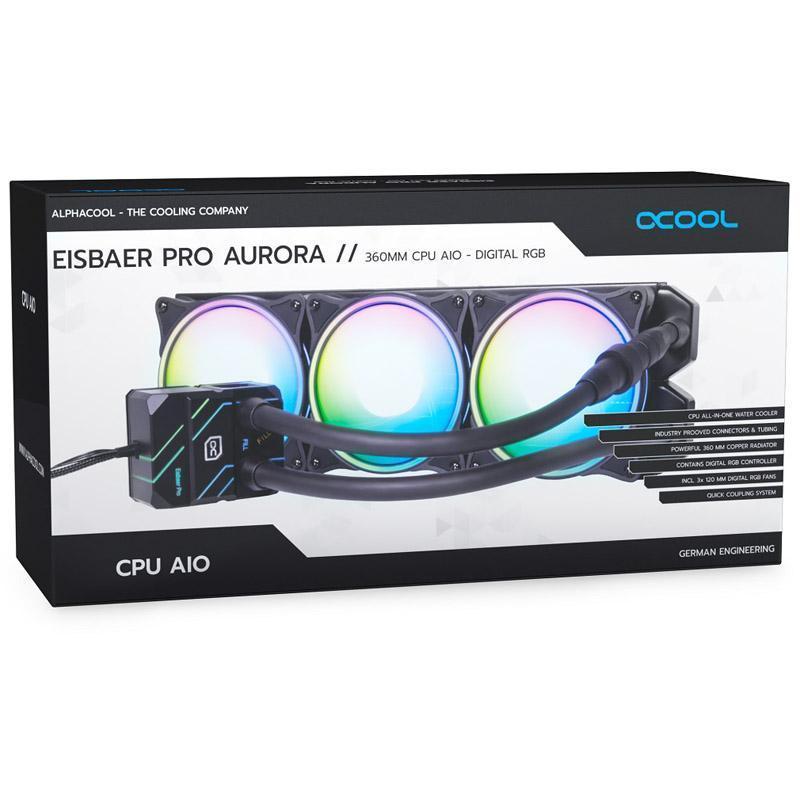 alphacool eisbaer pro aurora 360 cpu sistema di raffreddamento ad acqua completo d rgb 360mm