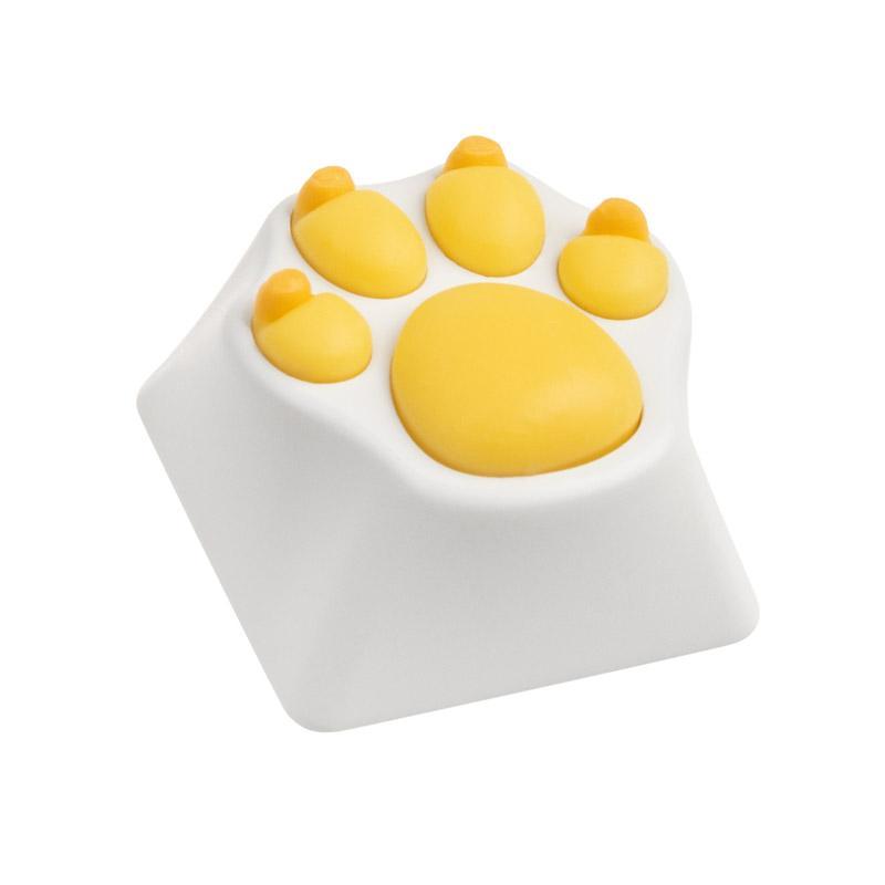zomoplus keycap in alluminio zampa di gatto bianco giallo