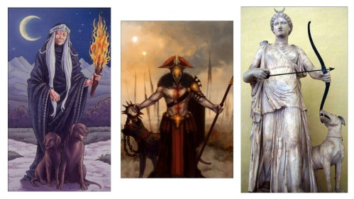 The significance of dogs in Greece. Images of Greek gods with Dogs- Hecate, Ares and Artemis.