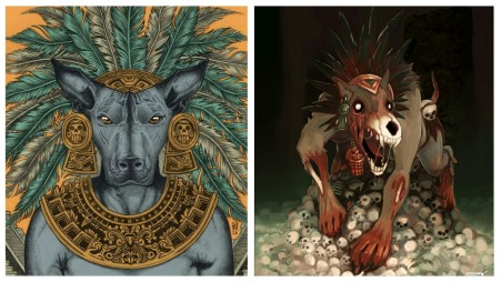 The significance of dogs in Aztec religion, portrayed by Xolotl- the dog god of fire, lightning and death.