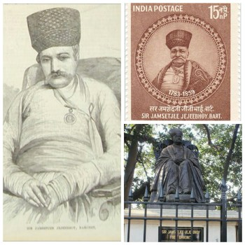 A sketch, stamp and statue of Sir Jamsetjee Jeejeebhoy, the leader behind the one of a kind 'Bombay Dog Riot'.