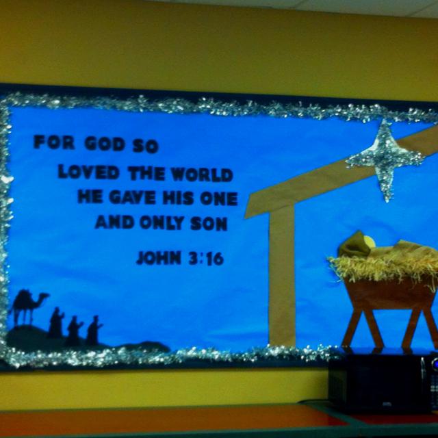 lovely Christmas Church Bulletin Ideas Part - 13: Christmas Bulletin Board 3 based on John 3:16