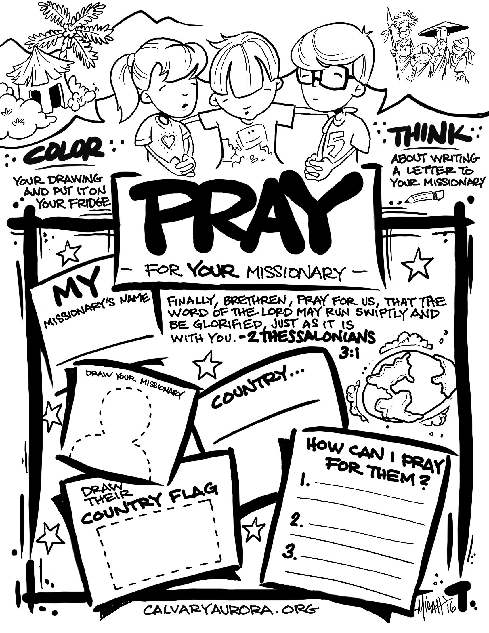 Missionary Prayer Pages For Children