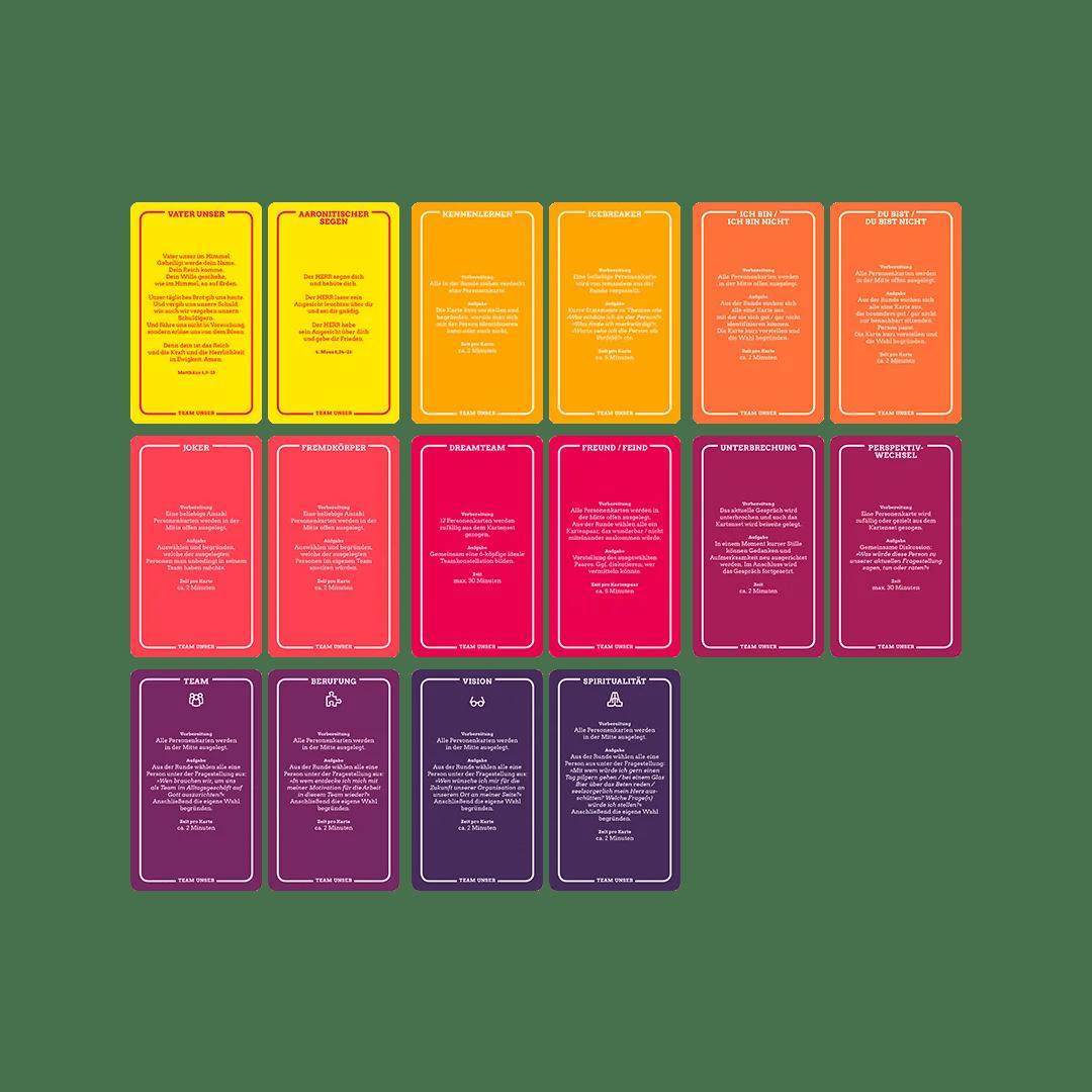 Team Unser, godnews, Teamentwicklung, Kartenset, Impuls-Karten, Übersicht, Teaminspiration, biblische Charakterköpfe, Toolbox, Vertiefung