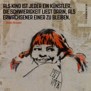 frag pippi, kindheit, kindisch, künstler, picasso, streetart, vielfalt, zitat, Pippi Langstrumpf, godnews
