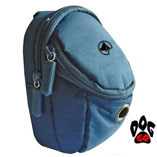 Сумка для прогулки с собакой CROCI HIKING, для лакомства и пакетов (с карабином) 7,5x4x11см голубая