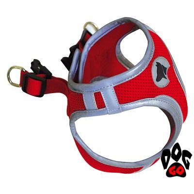 Шлея для собак CROCI HIKING REFLECTIVE светоотражающая, регулируемая (нейлон) S-XL (34-58см) красная