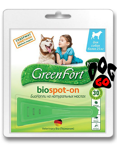 Капли на холку для собак более 25 кг Green Fort Биокапли с диметиконом 2,5 мл