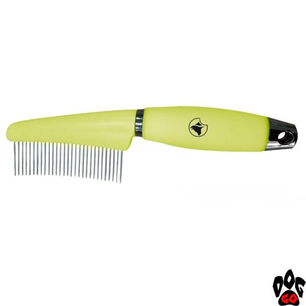 """Расческа для длинношёрстных собак CROCI """"Glam Gel"""", с силиконовой ручкой, 7.7х17.3 см"""