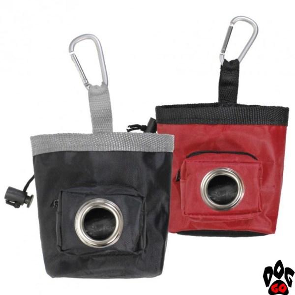Сумка на пояс для корма собак CROCI (под пакеты под фекалии, на карабине) 540мл, 10x10x12см