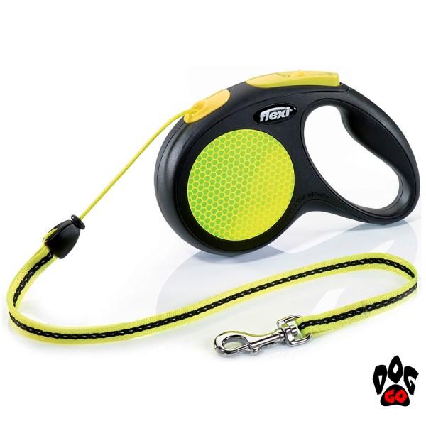 Рулетка FLEXI Neon M, 5 метров, до 20 кг, шнур, черный с желтым