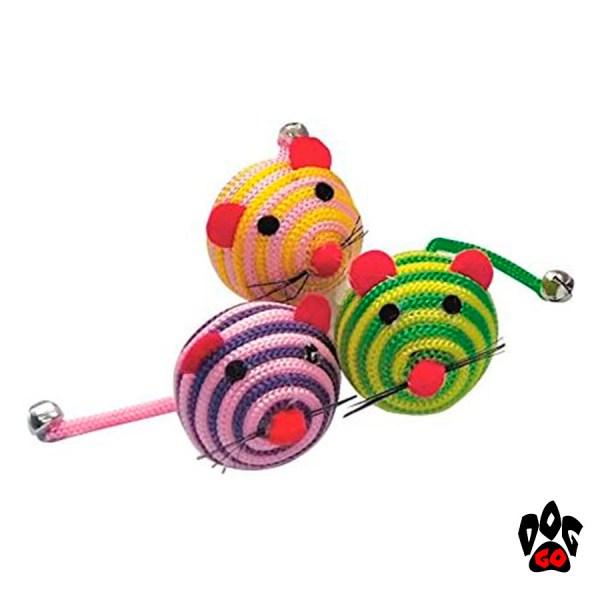 """CROCI Игрушки для кошек Мышь """"Шарик"""" полосатая, нейлон, 5 см"""