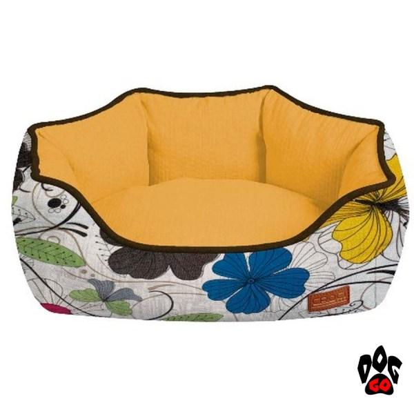 Лежак-диван для животных CROCI Cozy Flo, овальный, оранжевый, цветы-1