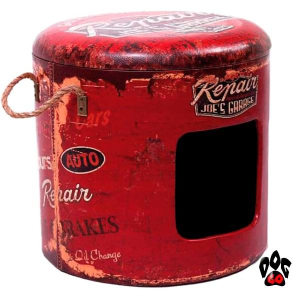Пуфик-домик для кота CROCI Industrial Repair, для интерьера, красный, 35х35х34см-1