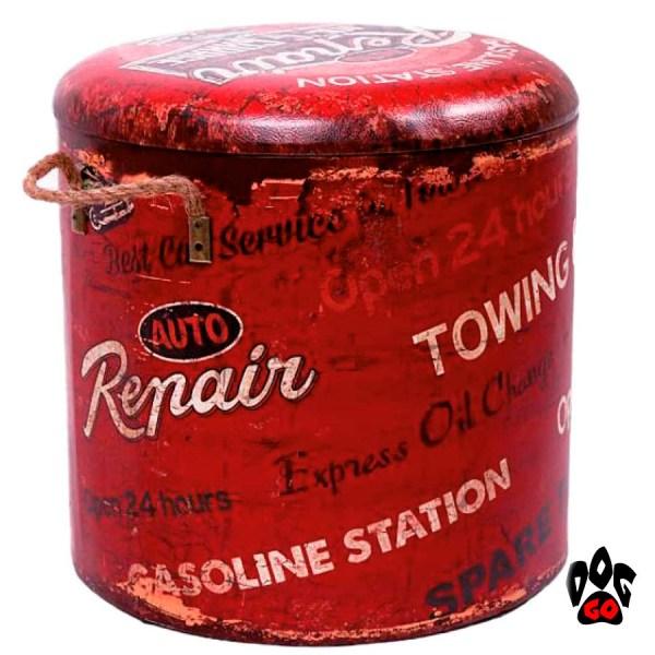 Пуфик-домик для кота CROCI Industrial Repair, для интерьера, красный, 35х35х34см-2