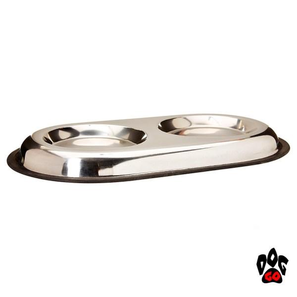 Двойная миска для кошек CROCI, нержавейка, непроливайка на резинке, плоская-1
