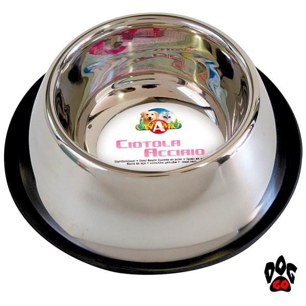 Миска для собак с длинными ушами CROCI для спаниеля, нержавейка, 0.9л, 24см-1