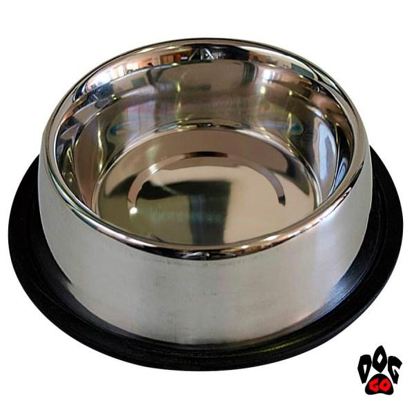 Миски для собак резинкой CROCI Мас непроливайка, нескользящая, металлическая-2