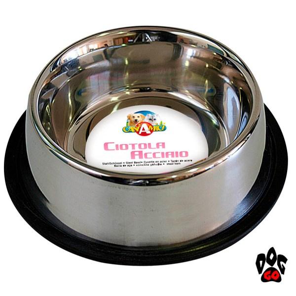 Миски для собак резинкой CROCI Мас непроливайка, нескользящая, металлическая-3