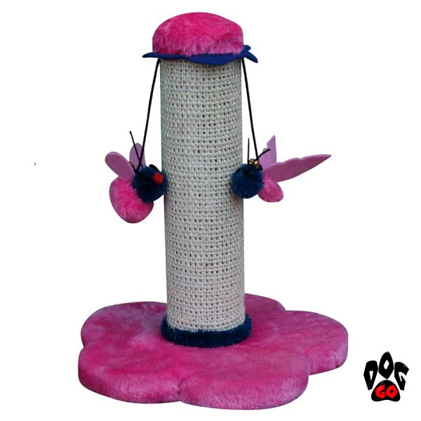 Когтеточка на подставке CROCI Mini Flowers, столбик с игрушкой, 25х25х30 см, плюш+сезаль-3