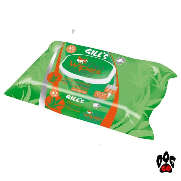 Влажные салфетки для собак и котов CROCI GILL'S гигиенические, 40шт в уп-1